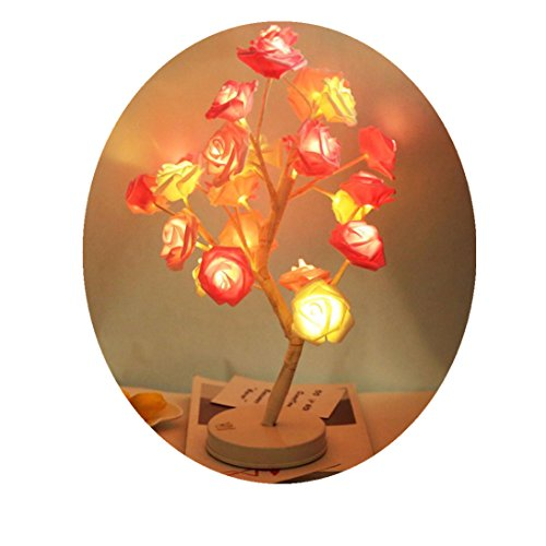 - Fheaven (TM) 24 LED Beads Rose Potted Lamp Desk Top Bonsai Tree Light for Garden Wedding Lantern Table Decoration (Pink)