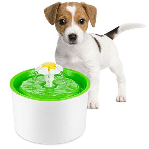 shangui Pet Fountain Water Dispenser Pet Dog Cat Floret Fountain Water Dispenser Cat Water Fountain 1.6L 3 Layer Filtration Health Hygiene Green by shangui