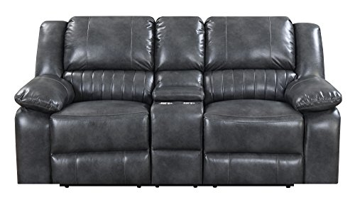 Artum Hill UP15-357 Austin Loveseat in Charcoal Gray with Dual Recliners, Faux Leather Upholstery, and Pillow Top Back ()