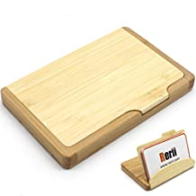 Business Card Case Holder - Rerii Nature Bamboo Business Card Holder Stand, Business Card Case, Business Card Organizer, Name Card Holder