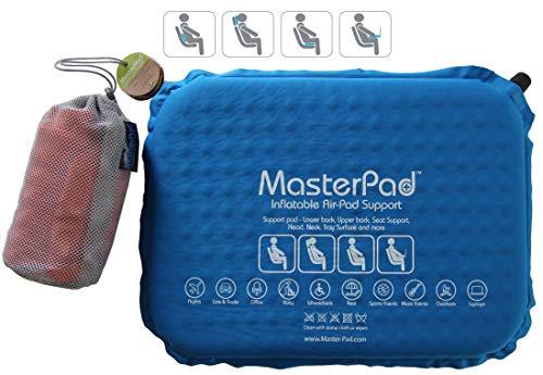 Master Pad Almohada de viaje autoinflable multifunción para apoyo lumbar, respaldo de silla, cuello, asientos, coches,...