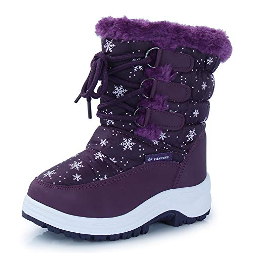 Kid Snow Boots Winter Outdoor Waterproof with Fur Lined for Girls & Boys (Toddler/Little Kid/Big Kid) TX3,Purple,25N