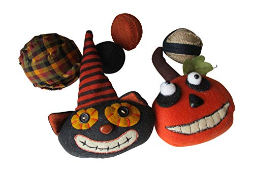 From The Attic Crafts Pumpkin, Cat, Rag Ball and Burlap Ball Folk Art Primitive Bowl Fillers for Fall and Halloween Mini Felt Set ()