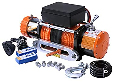 ORCISH 12V Synthetic Rope Electric Jeep Truck Winch 13000 lb.Load Capacity IP67 Waterproof
