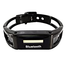 2014 High quality Cool & Fashionable Wireless Bracelet Metal Bluetooth Smart Watch with vibrating show caller id & phone number Caller / vibration alert , anti-lost(Black)