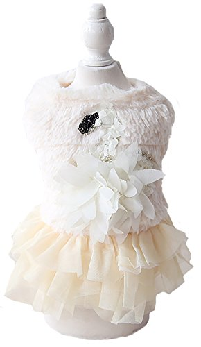 Puss In Boots Cat Costume (MaruPet Fashion Sweet Puppy Dog Love Printed Princess Skirt Pet Dog Lace Cake Camisole Tutu Dress White XL)