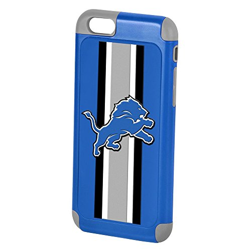 """Forever Collectibles Official Licensed NFL Dual Hybrid 4.7"""" iPhone 6 Rugged Case - Retail Packaging - Detroit Lions"""