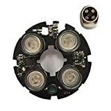 4pcs LED 850nm IR Lights 75 Bullet Camera Conch Hemisphere Camera Infrared Illuminator Board - CCTV Security Accessories Infrared Illuminator - 1 x 4 LED Infrared Illuminator Board