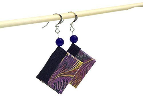 Leather Spine (Purple Mini Book Earrings with Leather)