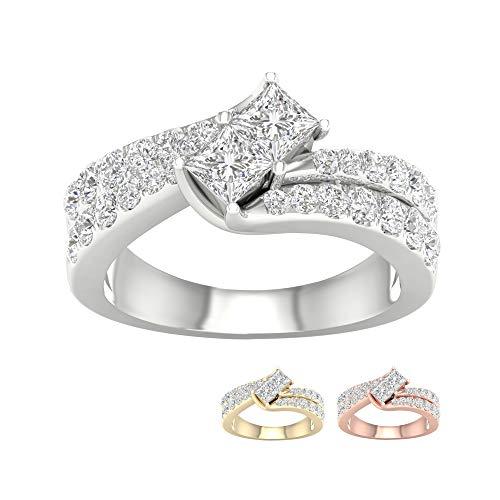 IGI Certified 14k Yellow Gold 1 1/2ct TDW Princess Shape Diamond Two Stone Engagement Ring(I-J, I2) ()