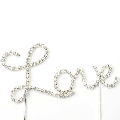 Cosmos  Rhinestone Crystal Silver Love Cake Top Topper Wedding Accessories