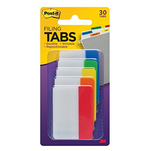 Post-it Tabs, 2 in, Solid, Assorted Colors, Sticks Securely, Removes Cleanly, Great for Binders, Notebooks and File Folders, 6 Tabs/Color, 5 Colors, 30 Tabs/Pack, (686-ROYGB)