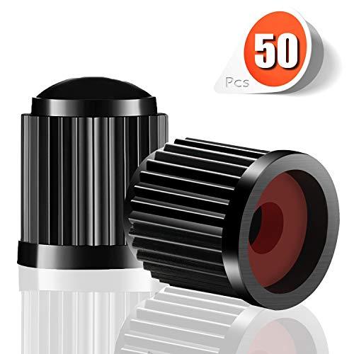 Eximious Stem Caps (50 Pcs) Airtight Seal, Screw-On, Tire Valve Caps Best for Car, Motorbike, Trucks, Bicycle (Black)