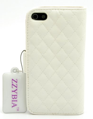 ZZYBIA IP5 QH Off White Leatherette Stand Case Card Holder Wallet for Apple Iphone 5 5s