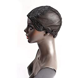 Bella Hair Glueless Wig Caps for Women Making Wig with Combs and Adjustable Straps Swiss Lace Black Medium Size