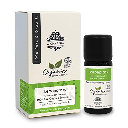 (Aroma Tierra Organic Lemongrass Essential Oil (India) - 100% Pure, Natural, Certified Organic by ECOCERT (10ml))