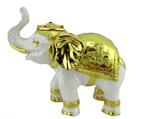 Blue Orchid Small Elephant Figurine - Lucky Thai Elephant Feng Shui Sculpture - Souvenir from Thailand with Gift Box (White)