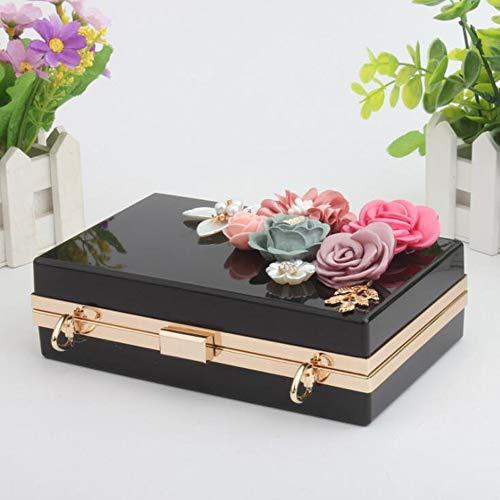 Clutch Prom Handbag Bags Wedding Flowers Evening Black EPLAZA Beaded Party Women For Acrylic Purse Bride Transparent 68WWnEzqw