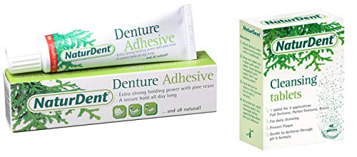 Natural Strong Denture Adhesive NaturDent holds Dentures LONGER and STRONGER NO Zinc NO Petrochemical NO Additives Bundle With NaturDent Denture Cleaner 48 ()