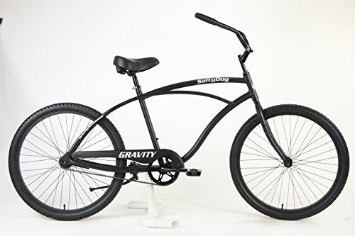 Gravity Salty Dog ALUMINUM Beach Cruiser Single Speed Bicycle (Matt Black, Mens)