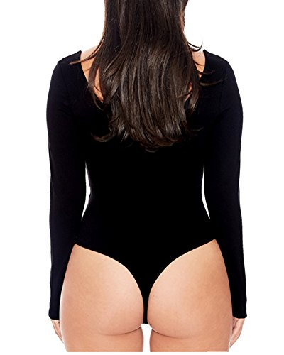 Mujer Body Manga Larga Cuello Body Elástica Bodysuit Tops Negro