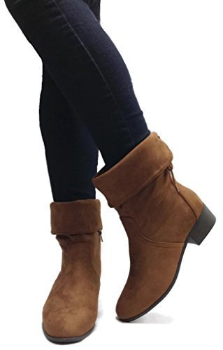 Soda Women's Slouchy Boot Round Toe Foldable Faux Suede, Cognac, 8