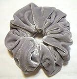 Pair of Gray Tone Velvet Feel Hair Scrunchies Bobbles Elastic Hair Bands