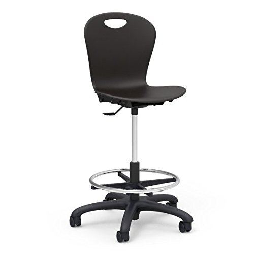 Virco Lab Stool, Black, Soft Plastic Shell, Adjustable Seat Height, Black Base, 1 Chair (ZLAB-BLK01)