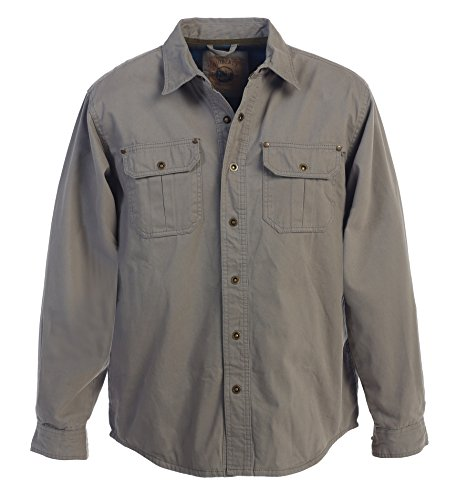 - Gioberti Men's Brushed and Soft Twill Shirt Jacket with Flannel Lining, Gray, L