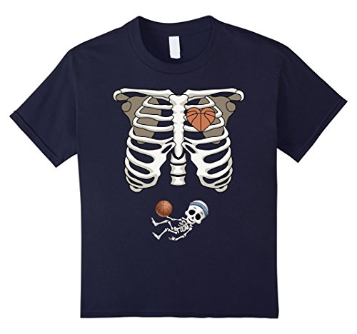 Kids Maternity Skeleton T-Shirt Basketball Pregnant Shirt 12 (Pregnant Costume Basketball)
