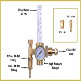 MOD Complete MDC99009 Argon Regulator TIG Welder MIG Welding CO2 Flowmeter 10-60 CFH - 0 to 4000 Psi Pressure Gauge CGA580 Inlet Connection Gas Welder Welding Regulator Accurate Me