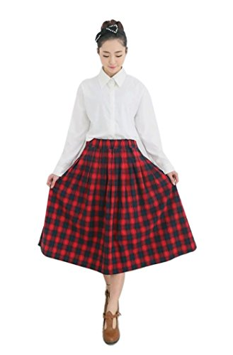 [Womens Vintage Cotton Academic Style Scotland Pleated Plaid Mid-calf Long Skirts Red] (Preppy School Girl Costumes)