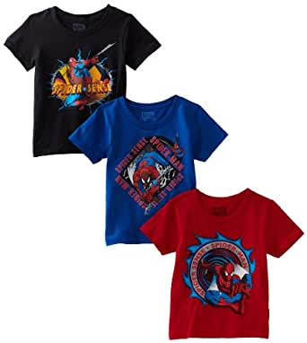 Fruit Of The Loom Boys 2-7 Spiderman Classic Crew Neck Tee , Assorted, 4(Pack of 3)