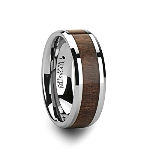 Thorsten Halifax Beveled with Black Walnut Wood Inlay Tungsten Carbide Ring 6mm Wide Wedding Band from Roy Rose Jewelry Size ()
