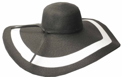 Sakkas 5311LF Women's Contrast Stripe UPF 50+ Extra Wide Floppy Brim Straw Hat - Black - One Size Stripe Straw Hat