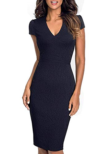 cn Vintage Da L Blu A Uk Nero M Scollo Vestito Party Punta Dimensione Oudan Cocktail Donna Con colore qaZxw5B