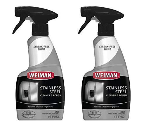Weiman Stainless Steel Cleaner and Polish - Streak-Free Shine for Refrigerators, Dishwasher, Sinks, Range Hoods and BBQ grills - 22 fl. oz. (Pack of 2)