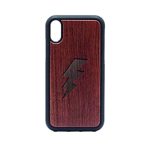 Lightning Bolt - iPhone XR CASE - Rosewood Premium Slim & Lightweight Traveler Wooden Protective Phone CASE - Unique, Stylish & ECO-Friendly - Designed for iPhone XR (Rosewood Bolt)
