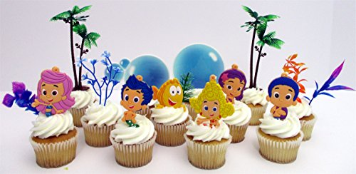 Bubble Guppies Birthday Cake CUPCAKE Topper Set Featuring Characters from BUBBLE GUPPIES and Themed Decorative -