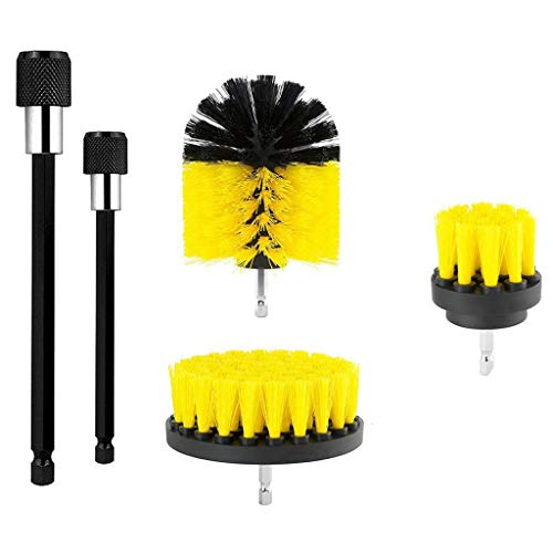 Orcbee  _5Pack Cleaning Extended Long Attachment Set All Purpose Revolver Rim Drill Scrub Brushes Kit