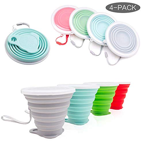 Collapsible Travel Cup, Certified BPA Free SiliconeDrinking Mug with Lid - Water, Coffee, Coca Cola and Snacks for Hiking, Camping, Picnic