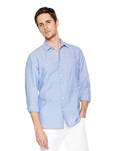 Isle Bay Linens Men's Linen Cotton Blend Long Sleeve Woven Casual Shirt Slim Fit Small - Blend Shirt Jacket Linen