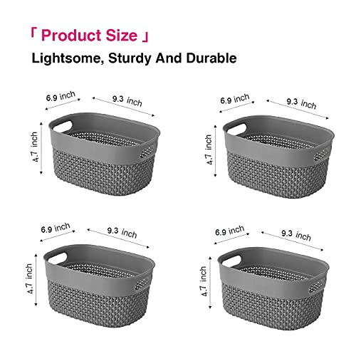 Plastic Storage Basket Set of 4 Small Durable Pantry Organizer Basket Organization Bins Plastic Baskets Trays Shelves for Organizing Bathroom Office Classroom Desktop Playroom and More