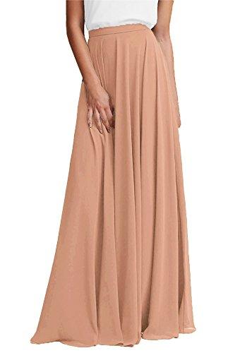 Honey Qiao Chiffon Bridesmaid Dresses High Waist Long Woman Maxi Skirt (Bellini, Medium)