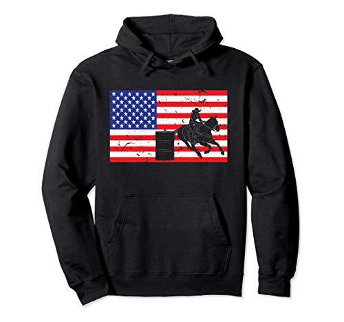 Barrel Race - Distressed Barrel Racing USA American Flag Vintage Rodeo Pullover Hoodie