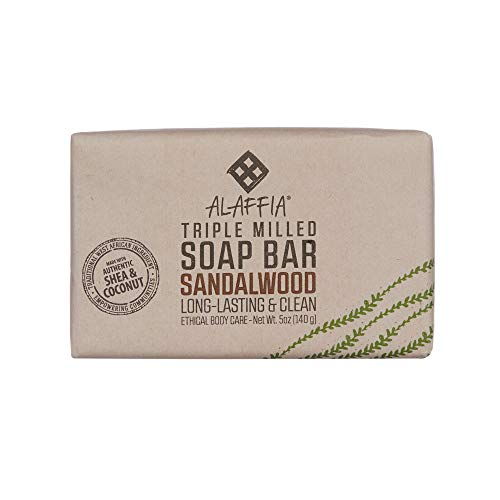 Alaffia - Triple Milled Shea Butter Soap, Gently Cleanses of Grime while Helping Moisturize and Soothe with Shea Butter and Coconut Oil, Fair Trade, Gluten Free, Sandalwood Ylang Ylang, 5 Ounces