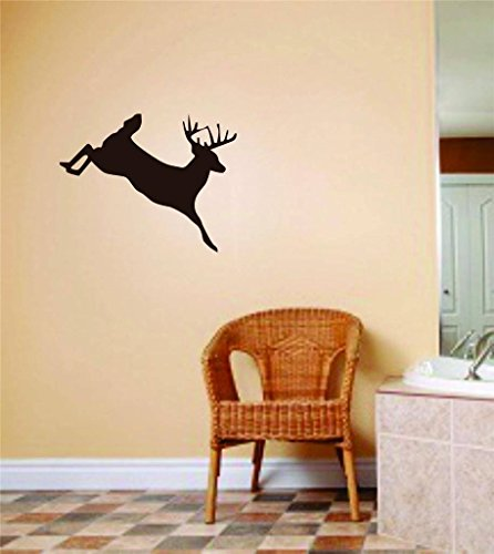 Jumping Running Deer Buck Image - Animal Hunting Hunter Man With Gun picture Art - Boys Men Kids Bed Room Sports Hobbies - Peel & Stick Sticker - Vinyl Wall - Quotes With Running Images