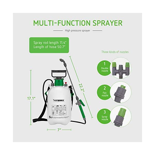 VIVOSUN Lawn and Garden Pump Pressure Sprayer with 3 Water Nozzles, Pressure Relief Valve, Adjustable Shoulder Strap
