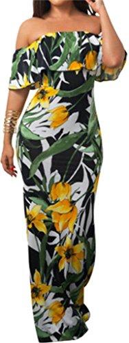 Dress 7 Sexy Maxi Strapless Ruffles Women's Summer Print Beach Floral Domple xqzR1cwc