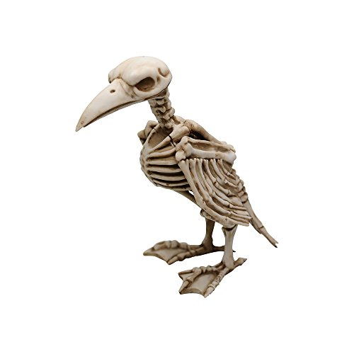 Comfy Hour 8' Polyresin Horrifying Halloween Standing Crow Skeleton Figurine, Antique Look, Old Aged Finish -